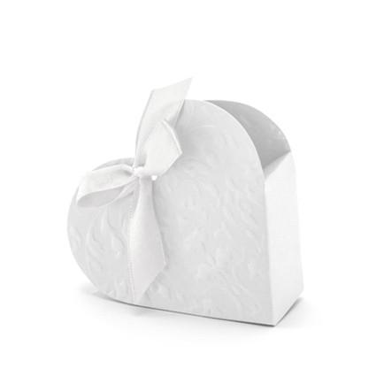 Gastgeschenkboxen Herz mit Schleife weiss - 10 Stück