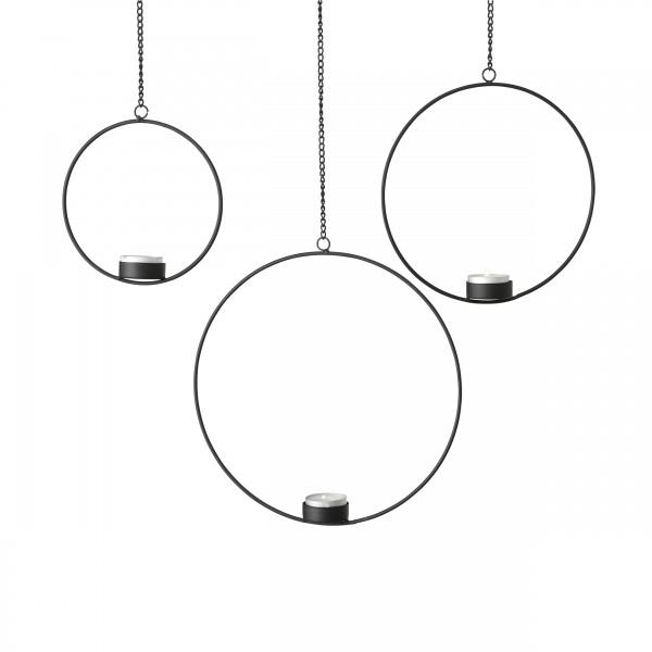 Teelichthalter RUMBA 3-tlg., schwarz zum Aufhängen
