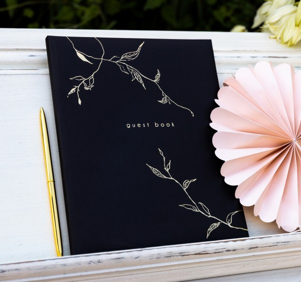 """Gästebuch mit Ranken """"guest book"""" Hochzeit schwarz/gold"""