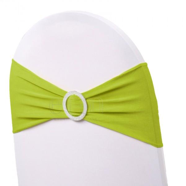5 x STRETCH Stuhlbänder mit Brosche grün