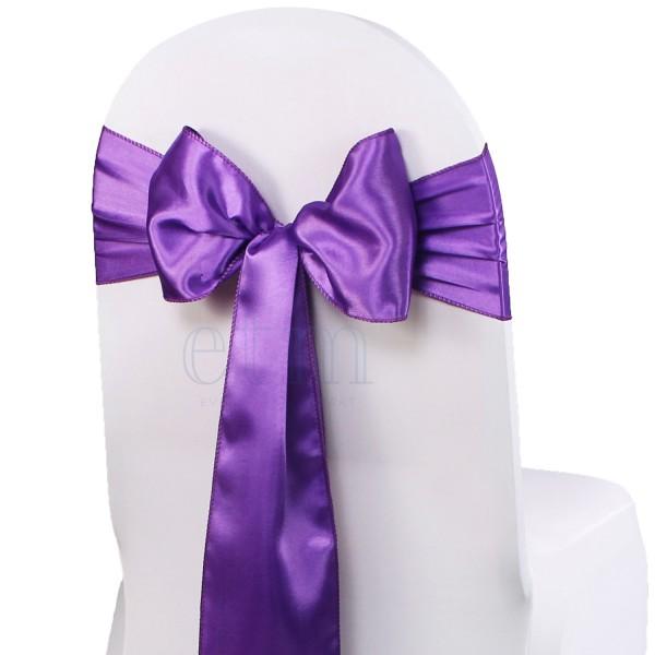5 x Satin Stuhlschleifen lila violett