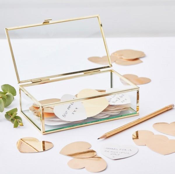 Gästebuch Glasbox mit goldenen Herzen