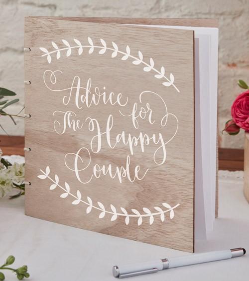 Gästebuch Holz-Einband Hochzeit braun/weiß