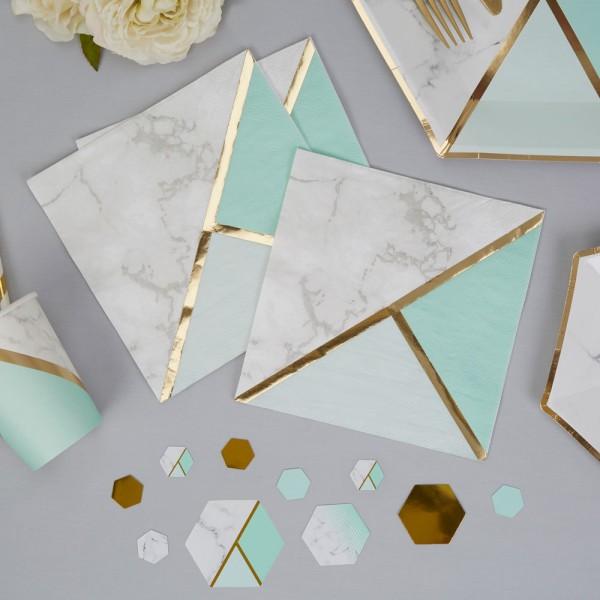 Servietten Marmor mint/gold - 16 Stück