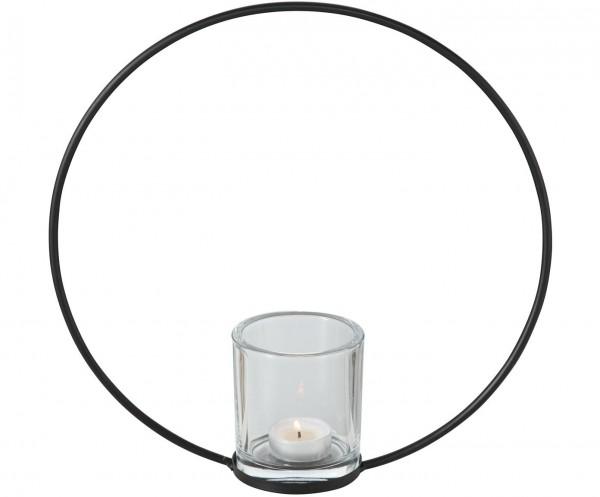 Teelichthalter Windlicht RUMBA im Skandi-Style schwarz H.30cm