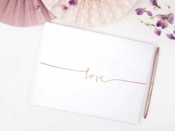 "Gästebuch ""love"" weiß/roségold"