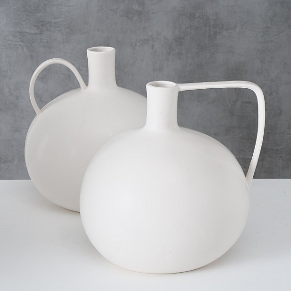 Vase MAKRAM aus Steingut, 2-tlg. weiss