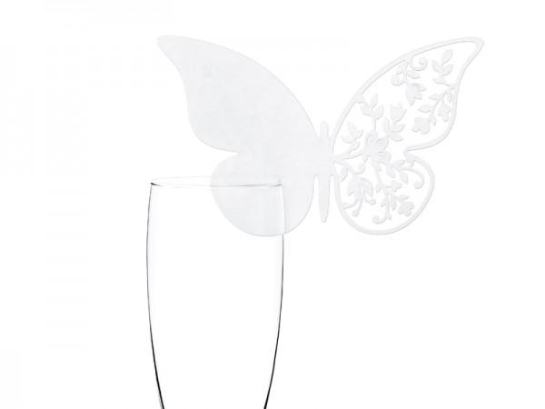 Platzkärtchen weisser Schmetterling - 10 Stück Tischkarten
