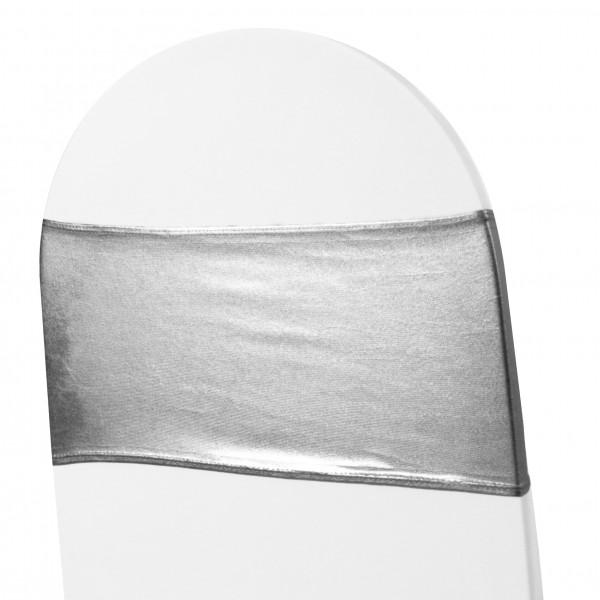 5 x STRETCH Stuhlbänder metallic silber