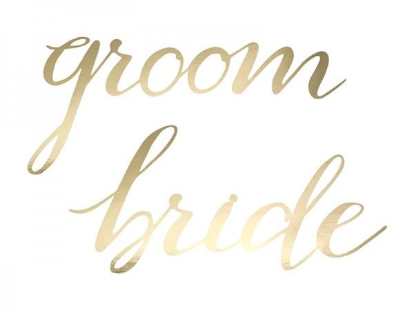 """Schriftzug Girlande """"Bride & Groom"""" gold"""