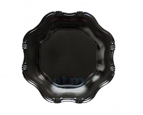 Platzteller schwarz 4 Stk. Unterteller Ø 33 cm Kunststoff