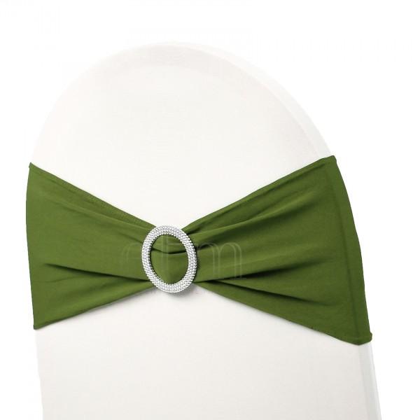 5 x STRETCH Stuhlbänder mit Brosche olivegrün