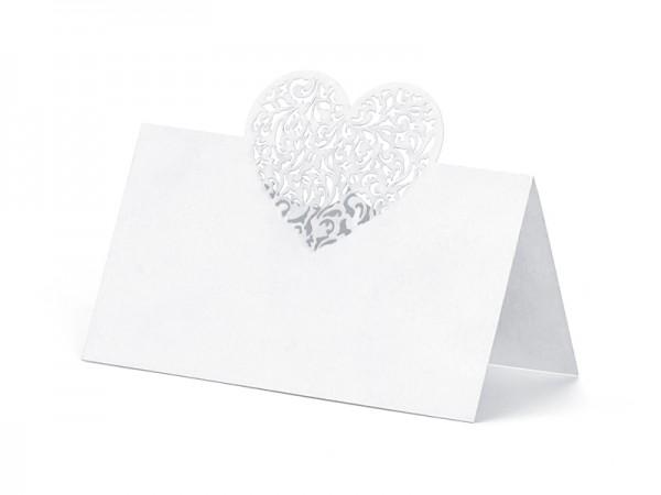 Platzkärtchen eckig weiss mit Herz - 10 Stück Tischkarten
