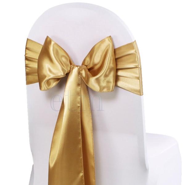 5 x Satin Stuhlschleifen gold