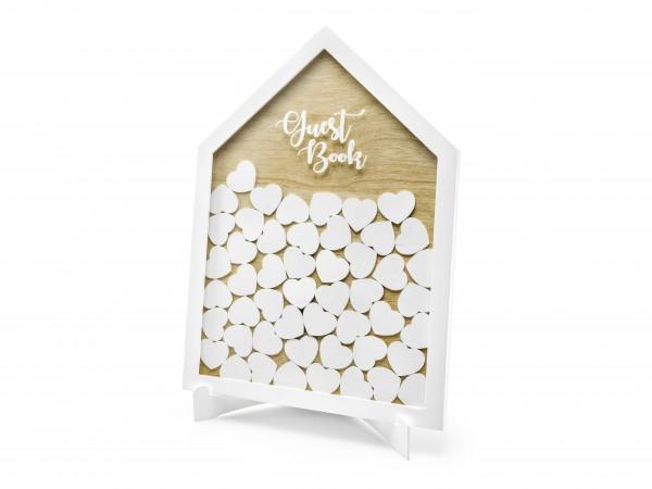 Rahmen Gästebuch Haus mit weißen Holzherzen