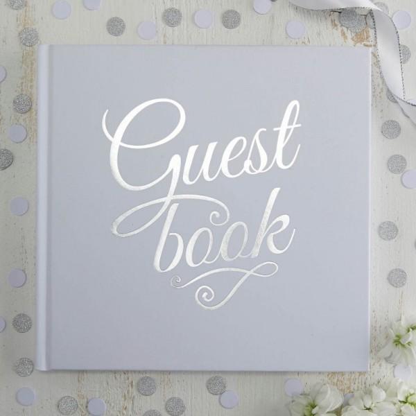 """Gästebuch Metallic Hochzeit """"Guest book"""" weiß/silber"""
