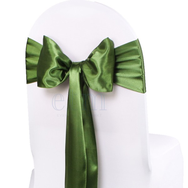 5 x Satin Stuhlschleifen olivegrün