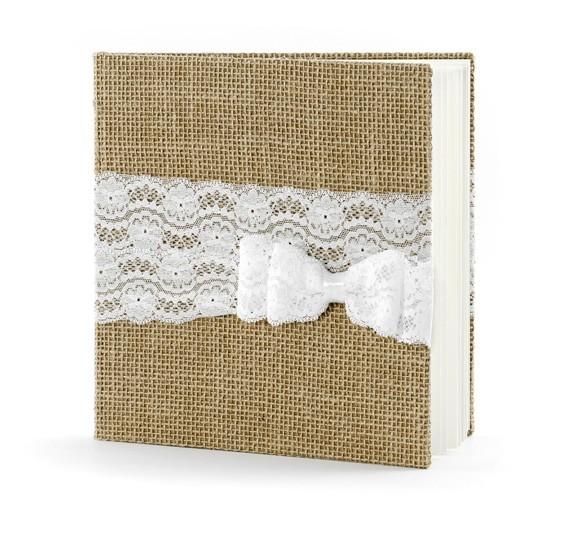 Jute Gästebuch mit weisser Spitze und weisser Schleife