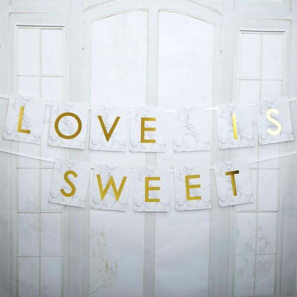 """Schriftzug Girlande """"Love is sweet"""" Marmor"""