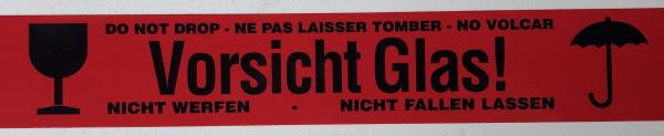 """Klebeband """"Vorsicht Glas! / Nicht werfen"""", 66 m x 50 mm, 4-sprachig"""