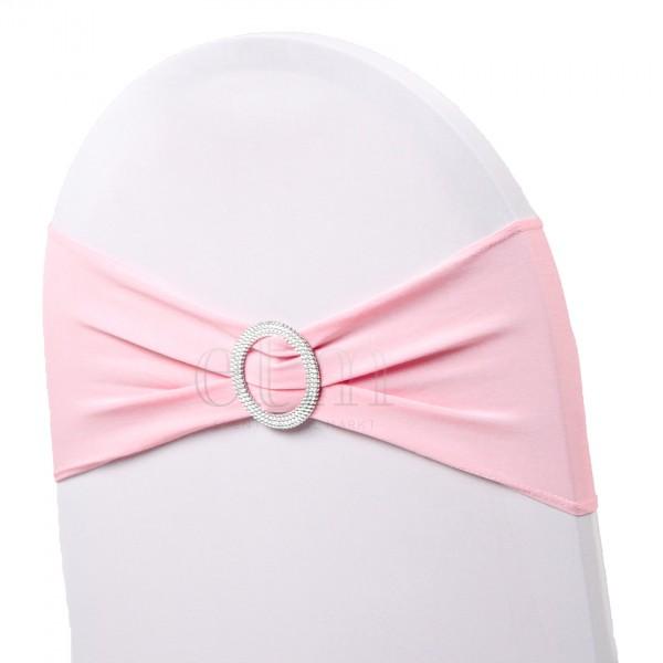 5 x STRETCH Stuhlbänder mit Brosche schweinchenrosa pink