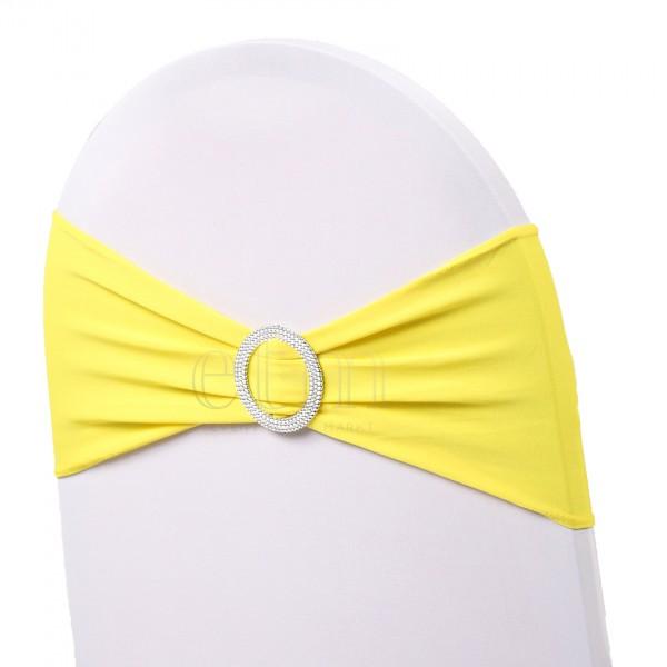 5 x STRETCH Stuhlbänder mit Brosche gelb