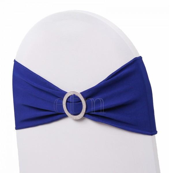 5 x STRETCH Stuhlbänder mit Brosche royalblau
