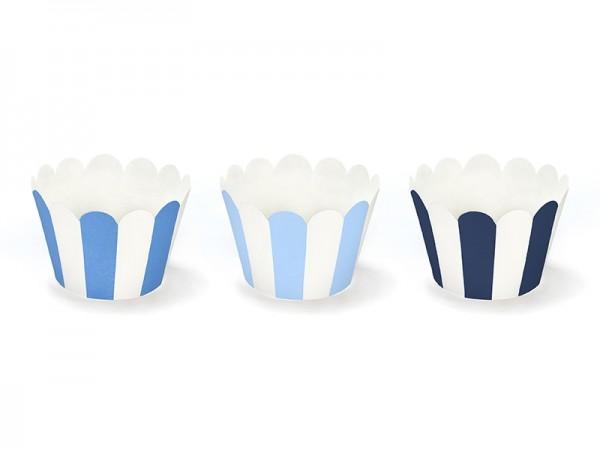 Cupcake Wrapper mit Streifen blau - 6 Stück