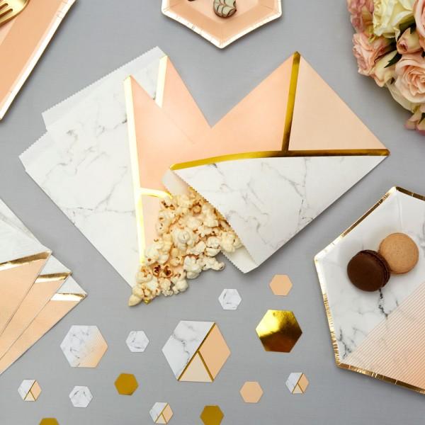 Bonbon Süßigkeiten Tüten Marmor pfirsich/gold - 25 Stück