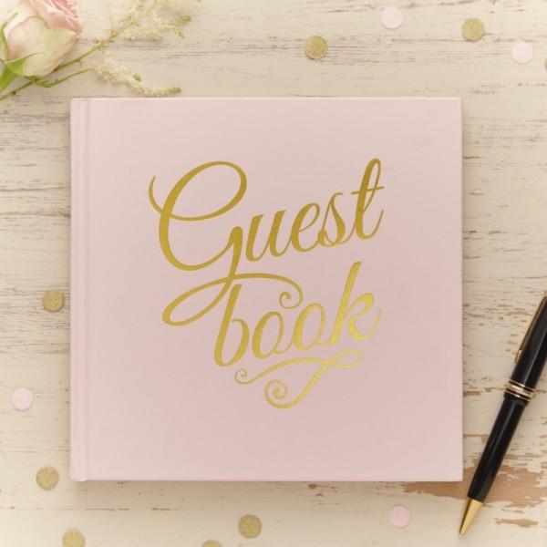 """Gästebuch Metallic Hochzeit """"Guest book"""" rosa/gold"""