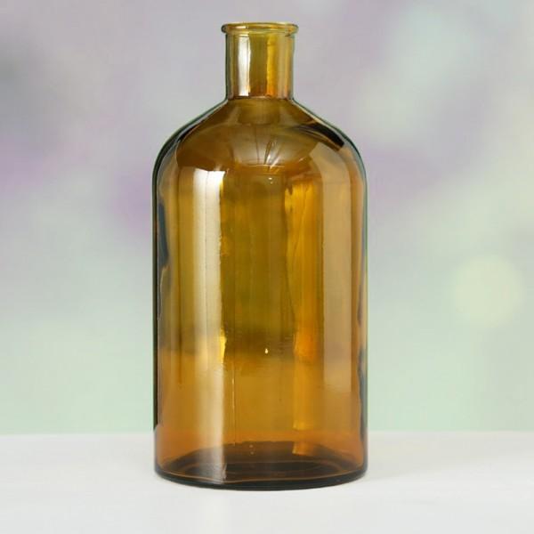Vase COLJAR aus recyceltem Glas H:28cm, dunkelgelb