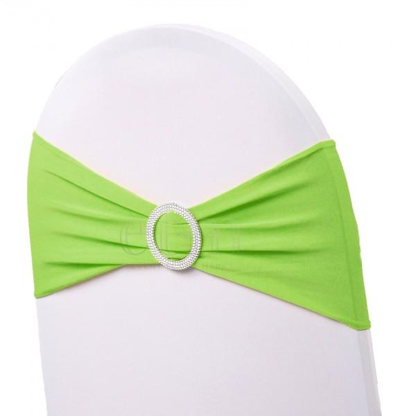 5 x STRETCH Stuhlbänder mit Brosche apfelgrün