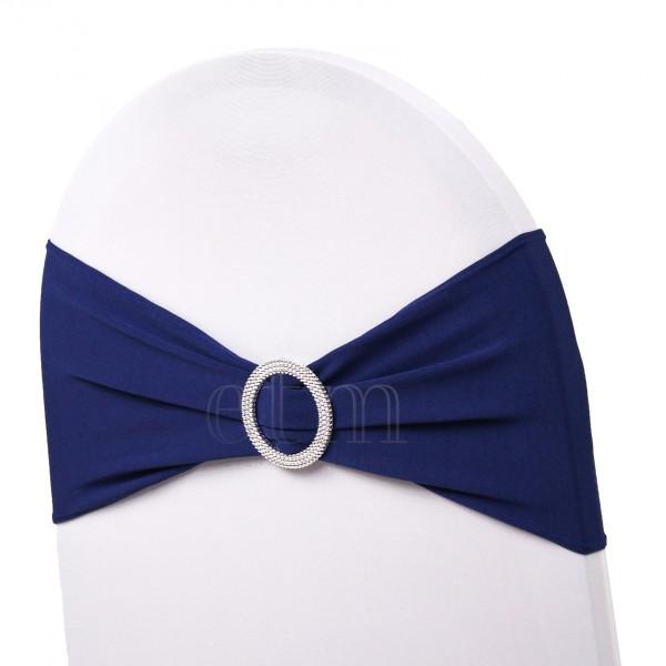 5 x STRETCH Stuhlbänder mit Brosche marineblau
