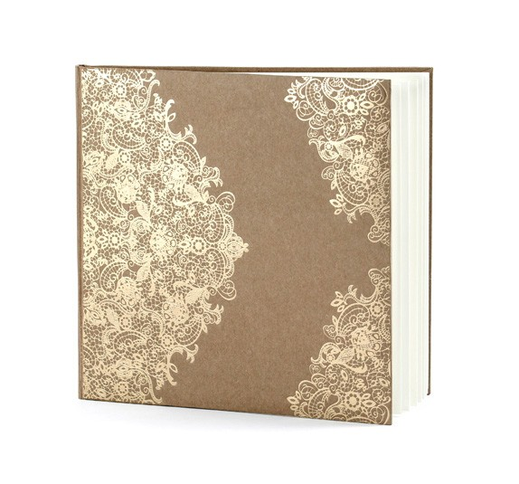 Gästebuch mit Spitzenornament - braun/gold