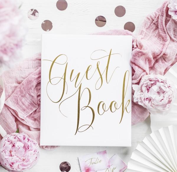 """Gästebuch """"Guest Book"""" Hochzeit weiß/gold"""
