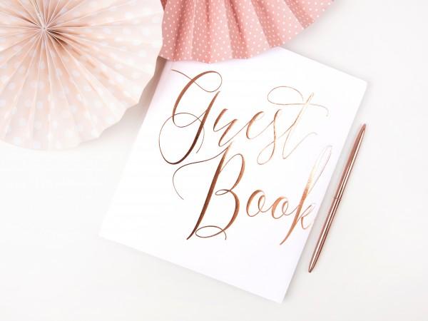 """Gästebuch """"Guest Book"""" Hochzeit weiß/roségold"""