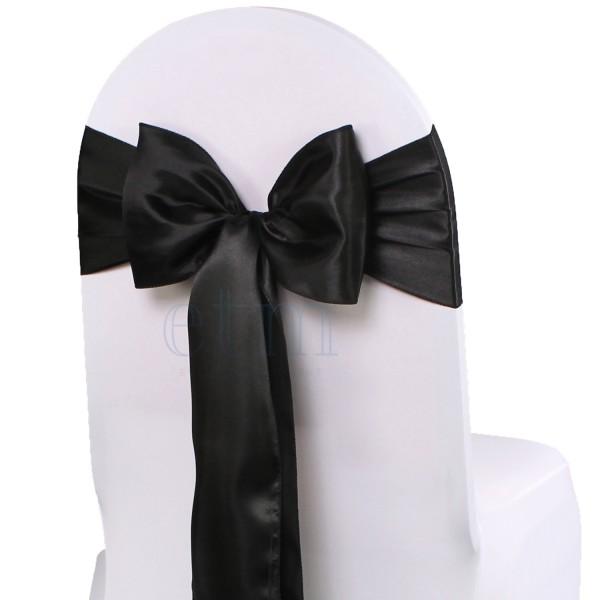 5 x Satin Stuhlschleifen schwarz