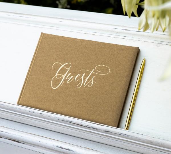 """Gästebuch """"Guests"""" Hochzeit Kraftpapier/gold"""
