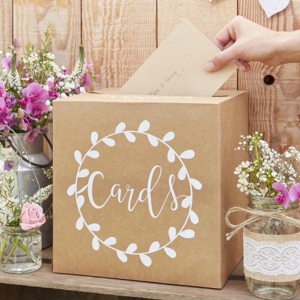 """Vintage Kartenbox """"Cards"""" Kraftpapier Hochzeit braun/weiß"""