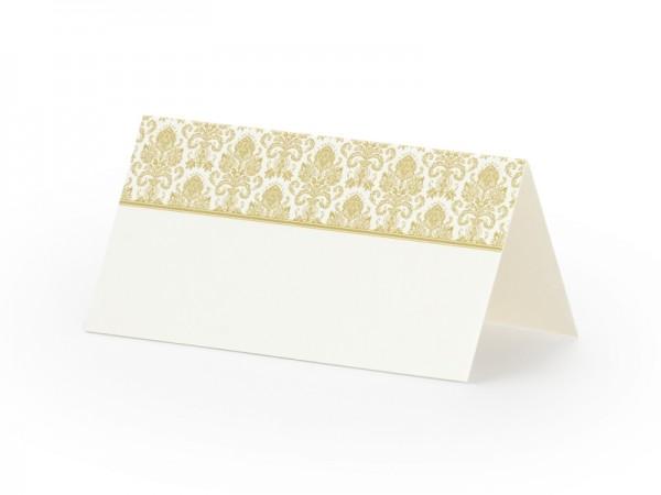 Platzkarten eckig weiss mit goldener Verzierung - 10 Stück