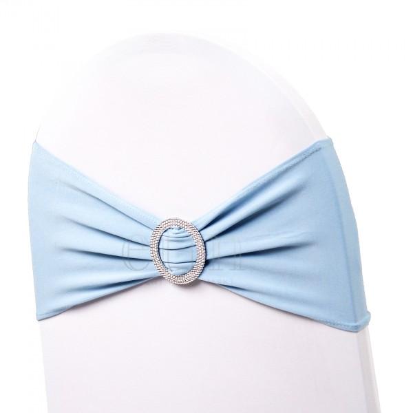 5 x STRETCH Stuhlbänder mit Brosche hellblau