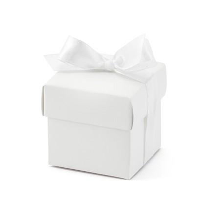 Gastgeschenkboxen Würfelbox mit Schleife weiss Miniboxen - 10 Stück