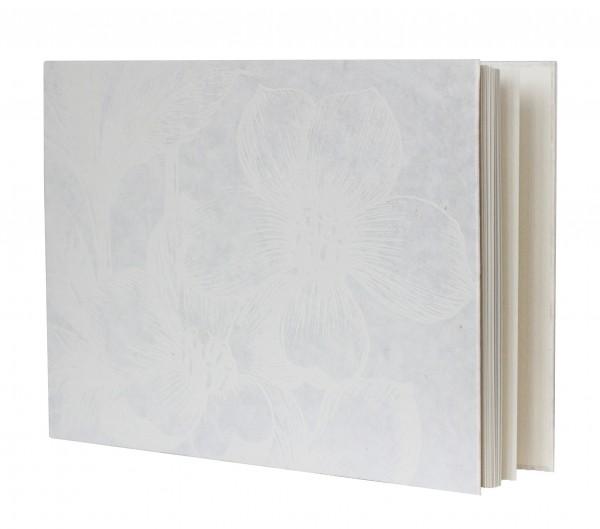 """Gästebuch """"White Flower"""" aus Maulbeerbaum Papier"""