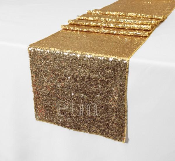 Glitzer Tischläufer mit Pailletten gold