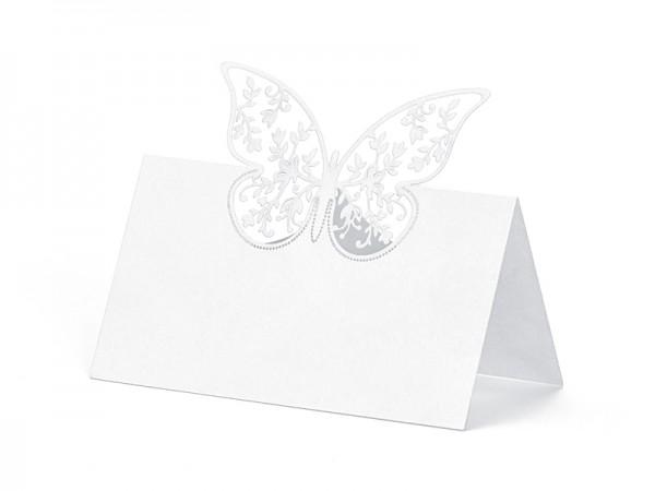 Platzkärtchen eckig weiss mit Schmetterling - 10 Stück Tischkarten