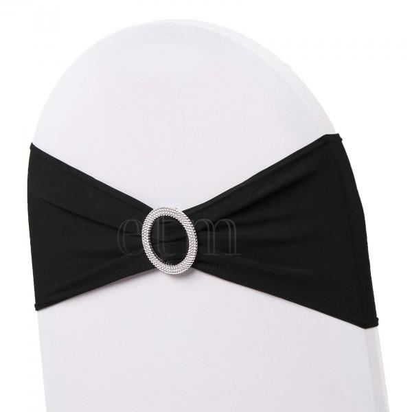 5 x STRETCH Stuhlbänder mit Brosche schwarz