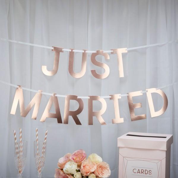 """Schriftzug Girlande """"JUST MARRIED"""" Roségold"""