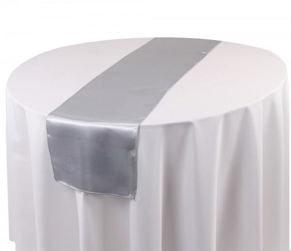 Satin Tischläufer silber-grau