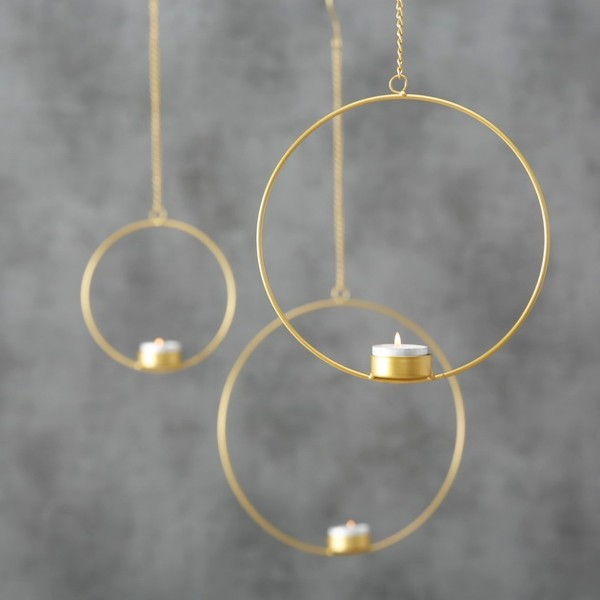 Teelichthalter RUMBA 3-tlg., gold zum Aufhängen