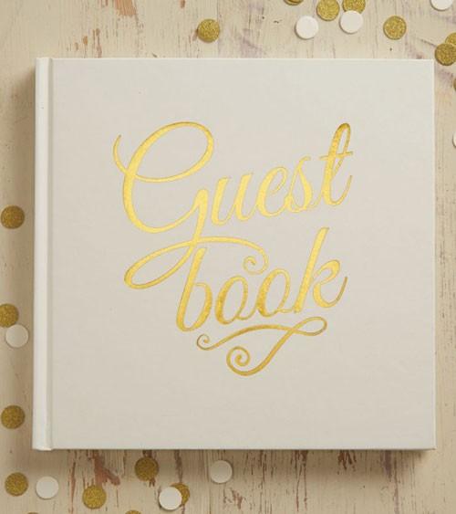 """Gästebuch Metallic Hochzeit """"Guest book"""" creme/gold"""